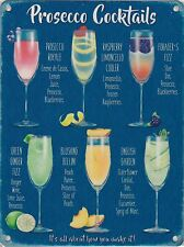 New 15x20cm Prosecco Cocktail recipe metal advertising sign