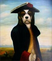 Quality Hand Painted Oil Painting Dog with Hat 20x24in