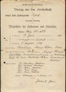 Oldenburg original Kirchenbuchschein vom 14.1.1913+orig. Poesiealbum Mecklenburg