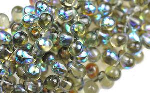 50 BLACK DIAMOND AB CZECH GLASS TEAR DROP BEADS 8MM