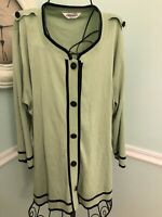 Exclusively Misook Women's Size 1X Light Green Black Trim Cardigan