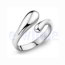 Hot New Fashion Silver Plated Thin Simple Tear Drop Small Snake Charm Ring Tw