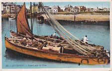 LE CROISIC 56 départ pour la pêche bateau timbre noir 1931