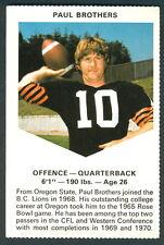 1971 CHEVRON TOUCHDOWN CARDS CFL FOOTBALL B C LIONS PAUL BROTHERS OREGON  DUCKS