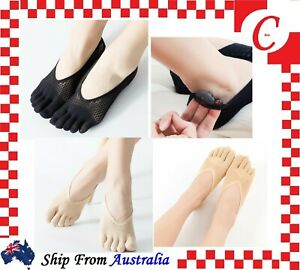 WOMEN toe socks Ankle Five Separated Fingers Non-slip Heel Grip Low Cut No Show