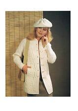 e8dc37f53bf6 Ladies Aran Jacket Coat   Hat Vintage Knitting Pattern PATTERN ONLY 32 40  ins