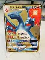 ⭐⭐Premium Glurak GX Shiny Charizard GX Metall Gold Pokémon Karte⭐⭐
