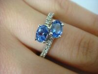 2 OVAL SHAPED TANZANITES AND DIAMONDS BYPASS DESIGN LADIES RING 14K WHITE GOLD