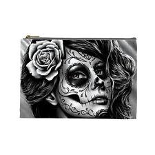 Cosmetic Bag Small Clutch Makeup Case Day of the Dead Sugar Skull Girl Calavera