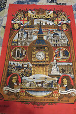 Vintage LONDON Vista #8029 LINEN TOWEL Made in BRITAIN Big Ben, Downing Street