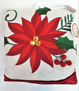 """Poinsettia Christmas Tree Skirt 48"""" Merry Brite Embroidered Burlap With Gems"""