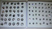 Joblot 42 pairs 3mm & 6mm Hypoallergenic Diamante stud Earrings - NEW Wholesale