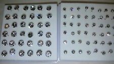 Joblot 42 pairs 3mm & 6mm Hypoallergenic Diamante stud Earrings - NEW Wholesale