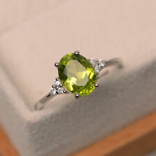 2.15 Ct Oval Cut Peridot Diamond Engagement Ring 14K Solid White Gold Size M N O