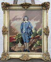 ANTIKER BILDERRAHMEN GOLD ALTWEISS PRUNK UM 1930 VINTAGE HOLZ INNEN 47,5 x 37,5