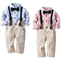 3pcs Kids Baby Boy Gentleman Shirt Tops+Strap Pants Trousers Clothes Outfits Set