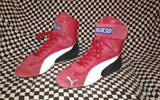 vintage sparco puma racing driving shoe rosso and  nero repli race cat france 42