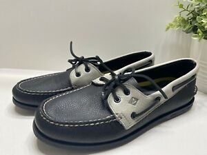 NEW Sperry Top-Sider Men's Lace Up Leather Boat Shoes Loafers Black Gray 10 M