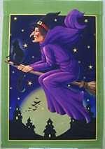 "Witch & Black Cat Halloween Garden Flag Bats Star Witches Broom Moon 12"" X 18"""