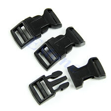 Hot 5Pcs Black Curved Side Release Plastic Buckles For Paracord Bracelet