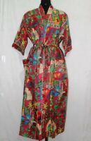 Women Long kimono Frida Kahlo Print Jacket Bath Robe Cotton Kaftan Maxi Dress