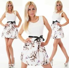 Italy Moda Sommer Blumen Flower Print Mini Kleid + Gürtelband M 36 Weiß