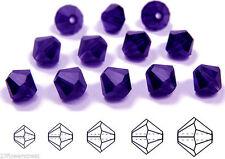 Czech MC Glass Bicone Beads (Rondell/Diamond) Tanzanite Deep, dk purple crystals