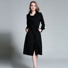 plus size womens Long trench coat fashion ladies New winter Black coat UK 14-22