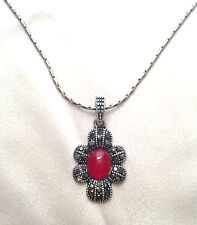 Lovely Elegant Faux Red Ruby Bead Flower Pendant Necklace & Chain