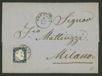 Italy Stamp Scott #19 on 1862 Cover, Single Franking to Milano