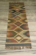 Traditional Multi Color Azofree Kilim 2x6 Feet Jute Runner Navajo Rug DN-2123