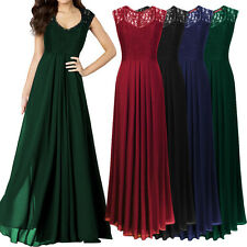 AU Womens Chiffon Maxi Formal Party Lace Ballgown Cocktail Bridesmaid Long Dress