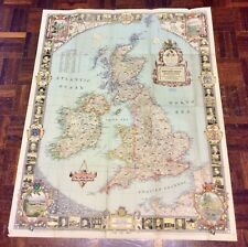 Large Vintage Map Of The United Kingdom - National Geographic 1949