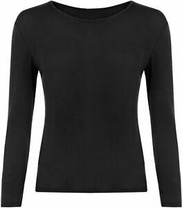 New Ladies Round Neck Long Sleeve Plain Basic Womens Stretch T Shirt Top 8-14
