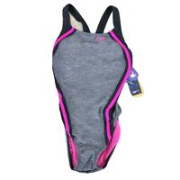Speedo Quantum Splice One Piece Women's Swimsuit Pink Black Gray NEW $78
