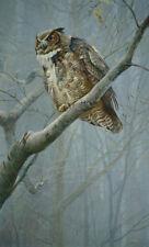 """Robert Bateman -Winter Mist Great Horned Owl - LTD Giclee Canvas size 20"""" x 33"""""""