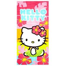 Hello Kitty Girl Hawaiian Island Hawaii Pink Floral Large Bath Beach Towel 28x58