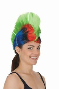 Adult Rainbow Mohawk Wig Gay Pride Multi-Color Tall Rave Punk Hair Womens Mens