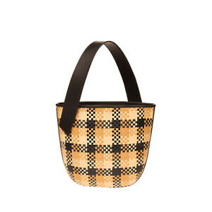 RRP €370 TL 180 Woven Straw Bucket Bag Check Pattern Structured Made in Italy