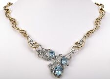 "Silver and Brass Necklace 19""L Carolyn Pollack Blue Topaz gemstone Sterling"