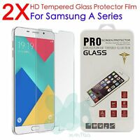 2X Real Tempered Glass Guard Screen Protector Film For Samsung Galaxy A9 A7 A5
