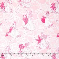 """Disney Princesses LINE DRAWING PINK Camelot 100% cotton Fabric Remnant 28"""""""