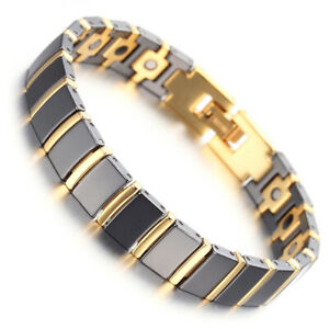 Mens Womens Gold Tungsten Black Ceramic Therapy Magnetic Energy Link Bracelet