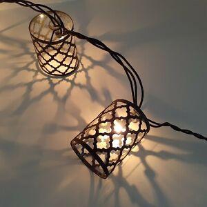 Moroccan Black Lantern String Lights, 10 Lights, 8 Ft, Indoor/Outdoor, NIOB