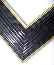 High quality picture frame moulding, Scharf Black & Gold, 61mm wide, 10cm sample