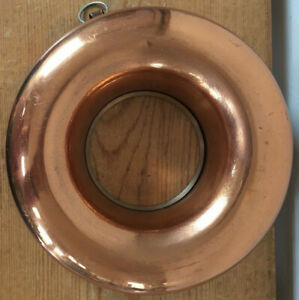"Vintage Antique Round Copper Jello Pudding Bundt Pan Cake Mold 8.25"" Round"