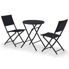 vidaXL Outdoor Bistro Set 3 Piece Poly Rattan Black Garden Patio Table Chair