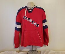 Rare CCM Pullover Hoodie NHL New York Rangers Adult Medium Blue and Red Jersey