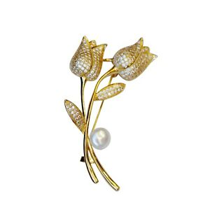 Baroque White freshwater 10mm pearl Gold two tulip Brooch pendant 72x39mm BH71