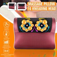 Neck Back Massage Pillow Shiatsu Shoulder W/Heat Deep Kneading Massager AA